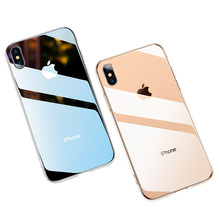 Transparent Crystal Case For iPhone X XS Max XR 7 8 Plus Clear TPU Tempered Glass Phone Business Anti-knock Back Cover