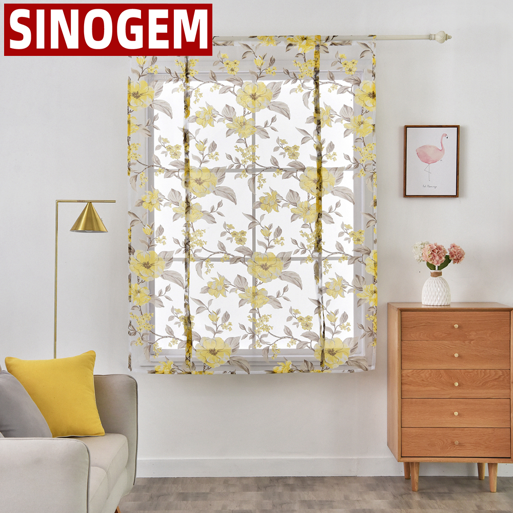 Tulle fabrics short sheer short kitchen curtains roman blinds Flowers design window treatments sheer curtain modern style(China)