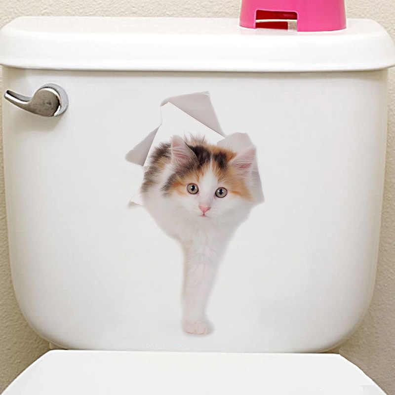 1 PC nouveau 9 couleurs 3D vif chat chien toilette autocollant décoration bricolage salle de bains cuisine PVC Art Mural Animal mur affiche livraison directe