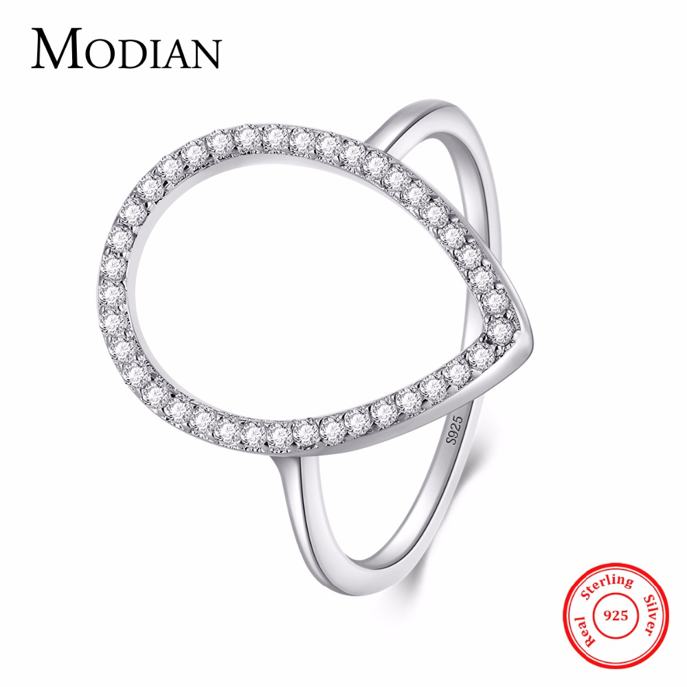 Modian New Fashion Hollow out Pear Water Drop Classic Ring Wedding Jewelry Sparkling 100% 925 Sterling Silver Rings For Women