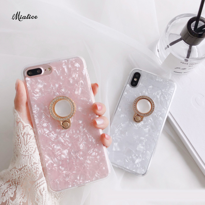 Luxury Foil Sequins Ring bracket phone case For iphone X 6 6s 6plus 6splus 7 8 7Plus 8Plus girl style case back cover