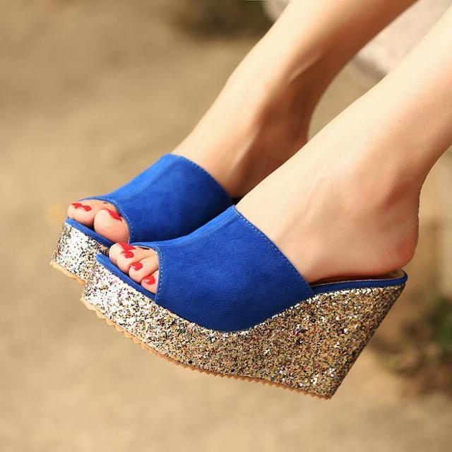 eae33e43b6 2017 Fashion Sequins High Heel Slippers Women Summer Shoes Suede Platform  Sandals Ladies Wedges Sandals Brand Flip Flops