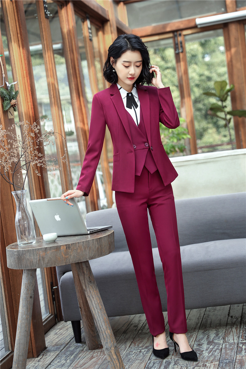 Elegant Wine Formal Pantsuit For Women Blazers Suits With 3 pieces Jackets + Pants + Vest Pants Suits Vest Coat & Waistcoat Sets