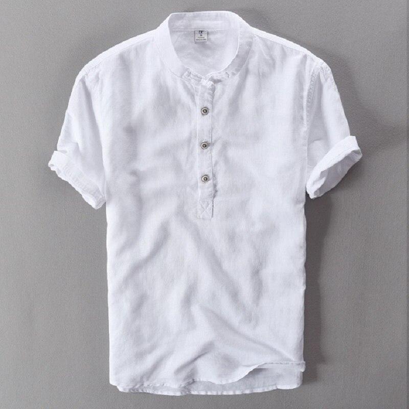 Mens shirts fashion 2017 summer short sleeve slim linen for Mens summer linen shirts