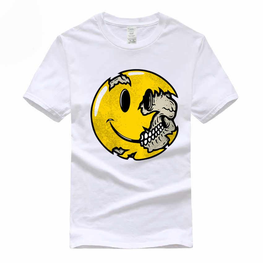 Schädel Smiley ausdruck Euro Größe 100% Baumwolle T-shirt Sommer Casual Oansatz kurzarm T-shirt Für Männer Und Frauen GMT038
