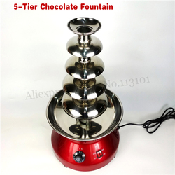 5 Tiers Commercial Stainless Steel New Luxury Chocolate Fondue Fountain Wine Red Color 230W