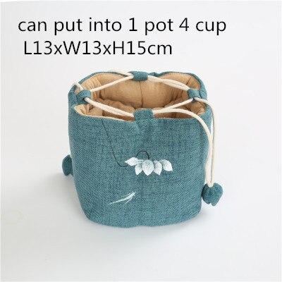 Sac à thé Portable peint à la main pochette de voyage sacs à cordon 1 Pot 2 tasse 4 tasse sac en tissu sac de rangement en lin de coton fait à la main