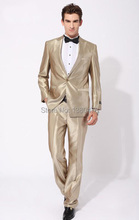 2016 Suits NEW Gold Best man slim Groom Tuxedos Men's Wedding Dress Prom Clothing Best man Suit