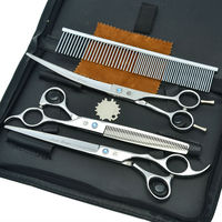 8 0 3pcs Set Pet Hair Scissors Set Professional Dog Grooming Cutting Thinning Curved Shears JP440C