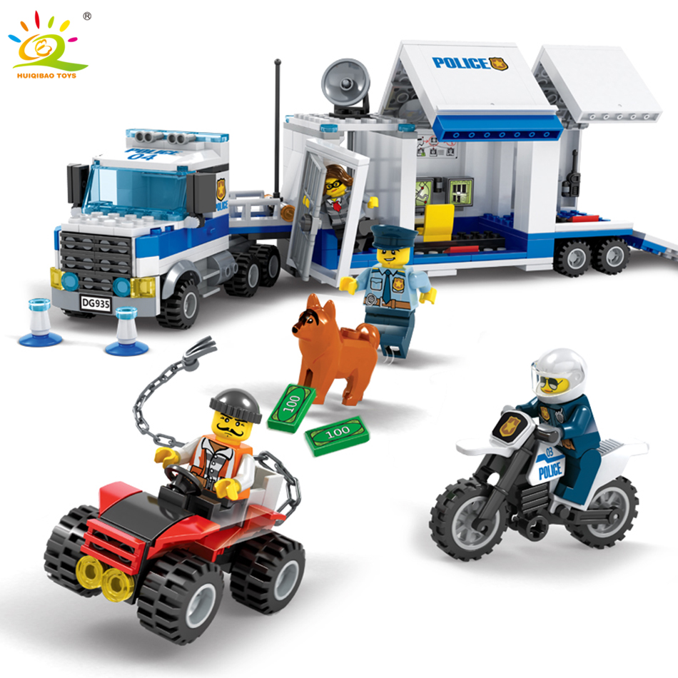 цена на 408pcs Police Station Command Center Truck Building Blocks Compatible Legoed city sets Policeman car Enlighten Toys for Children