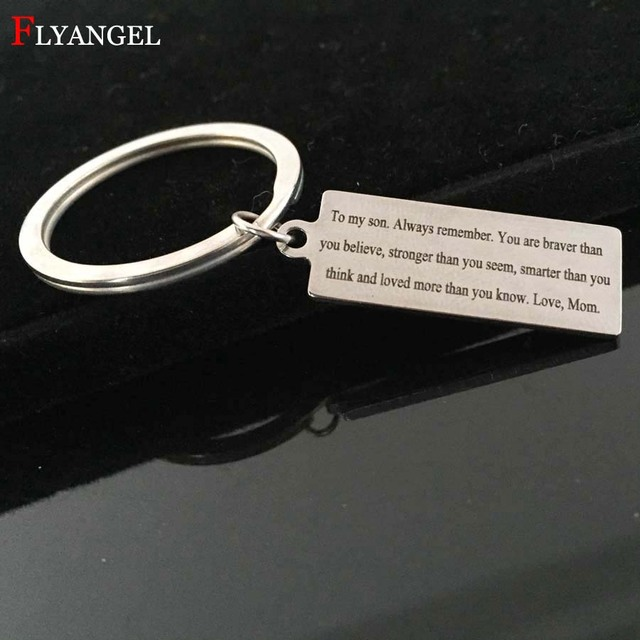 a627f4cc47e US $2.13 29% OFF|Fashion Engrave You're braver than you believe Keyring  Mother Mom Give Son Boy Men Birthday Gift Inspirational Jewelry Keychain-in  ...