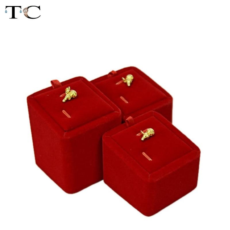 Pendant Display Red Velvet Jewelry Showcases Gold Jewelry Display 3pcs/lot Organize Cases