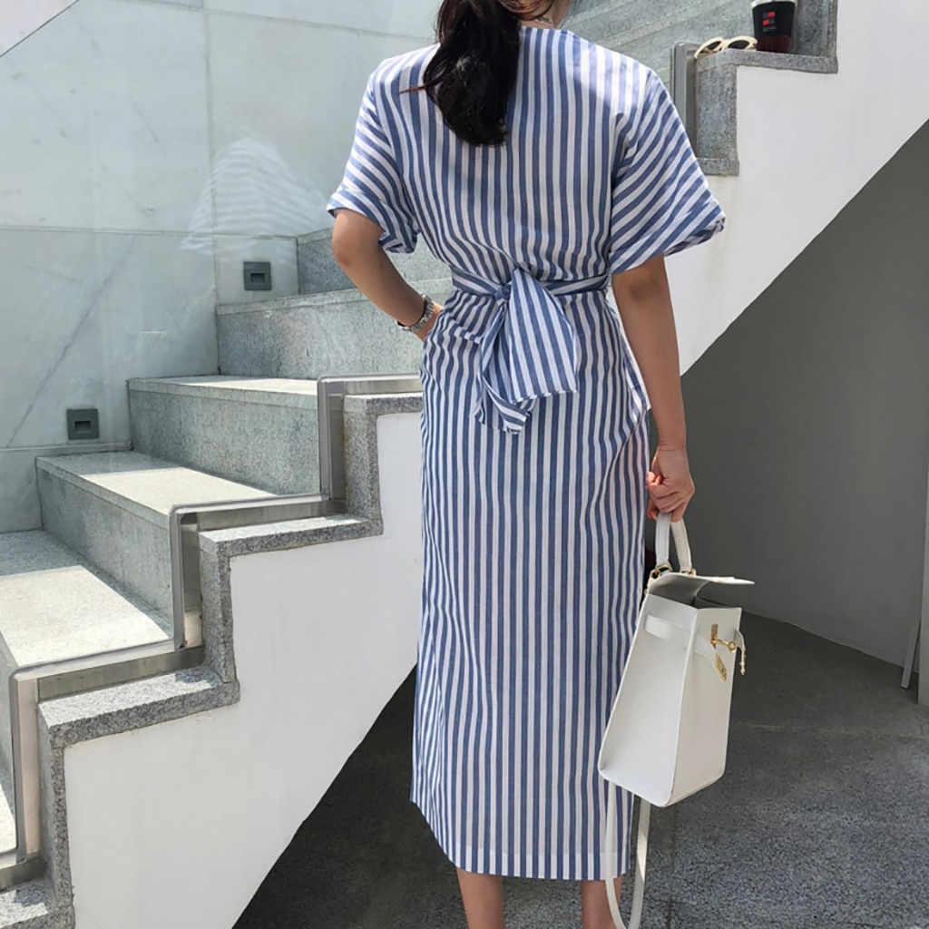 أزياء المرأة فستان صيفي عارضة بسيطة القطن الأزرق مخطط ضمادة انقسام فضفاض فستان طويل الصيف