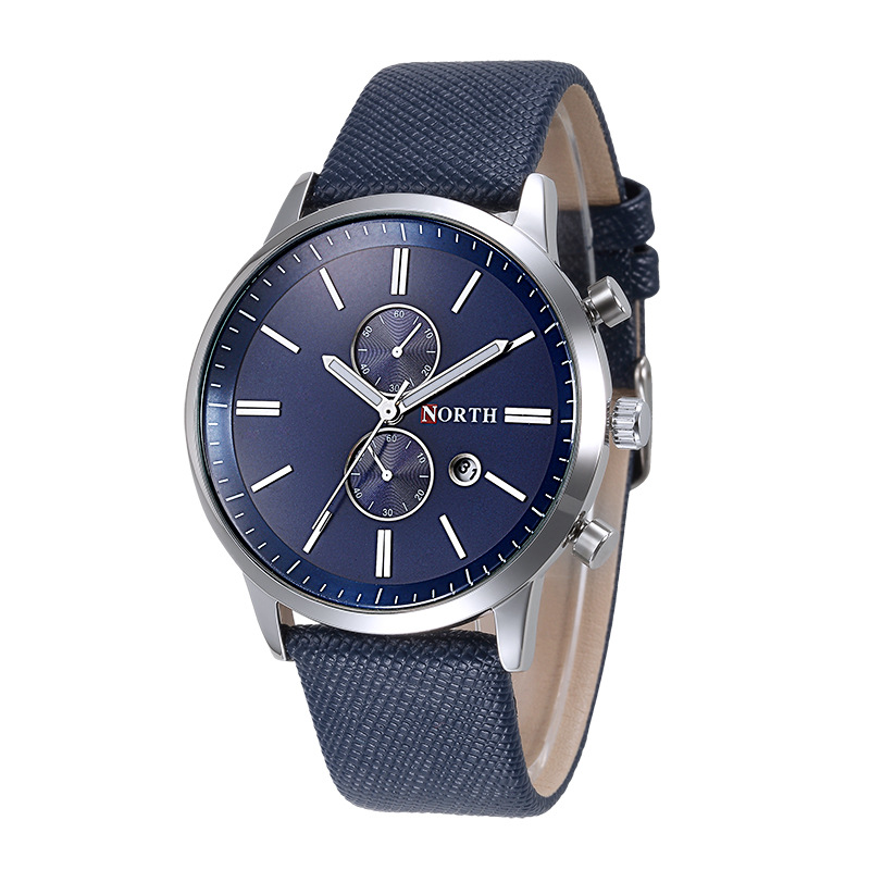 Practical NORTH Fashion men casual delicate design date PU leather Army watch gift