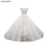 30972 Ball Gown Wedding Dress V neck Heavy Beading Lace Trims Ruffle Satin Elegant Bridal Dress