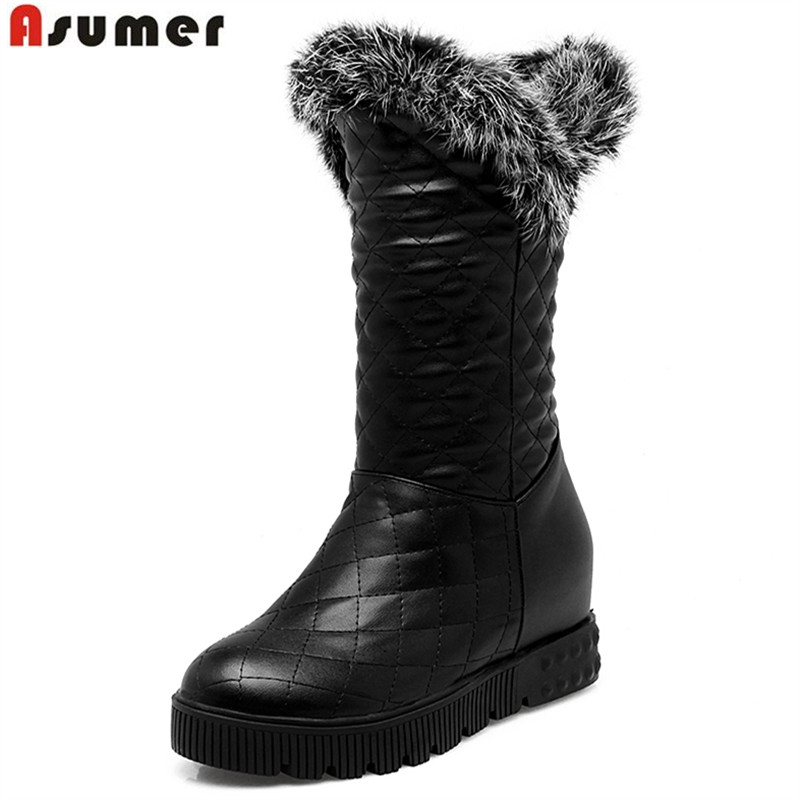 ASUMER new arrive women boots fashion solid color ladies shoes simple Keep warm comfortable snow boots elegant ankle boots winter women snow boots fashion footwear 2017 solid color female ankle boots for women shoes warm comfortable boots