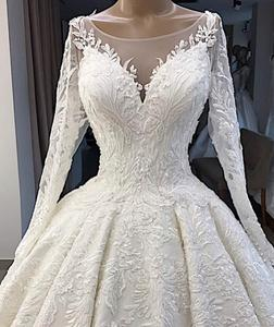 Image 3 - Vestido De Novia Elegante Weiße Spitze Appliques Hochzeit Kleid 2019 Illusion Zurück Lange Hülse Hochzeit Kleid Plus Größe Gelinlik