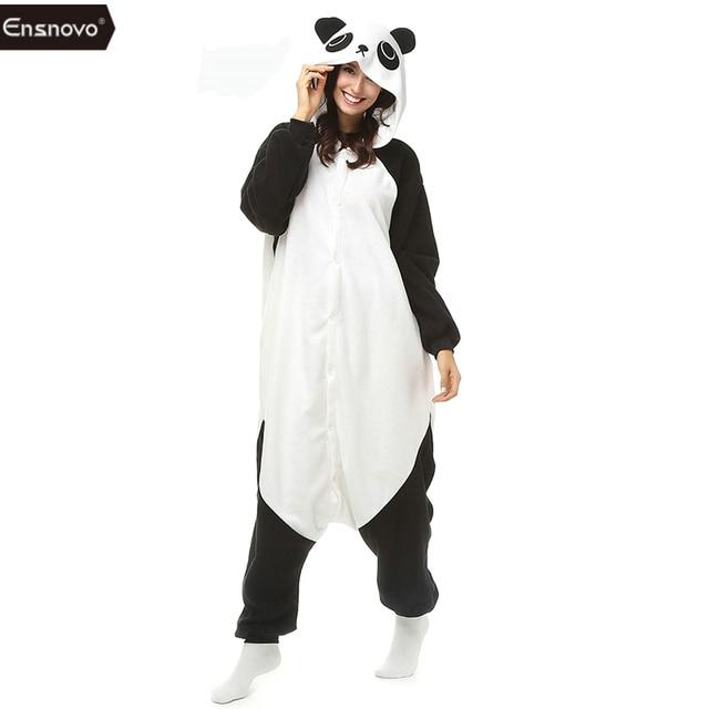 4d0bf1b01 Ensnovo mujeres Panda pijama invierno pijamas encapuchados pijamas enteros  animal perezoso onesie adulto full Cuerpo Pijamas