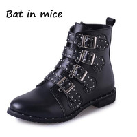 B I M NEW Fashion Women Leather Tactical Ankle Boots Female Western Vintage Rivets Studded Motorcycle