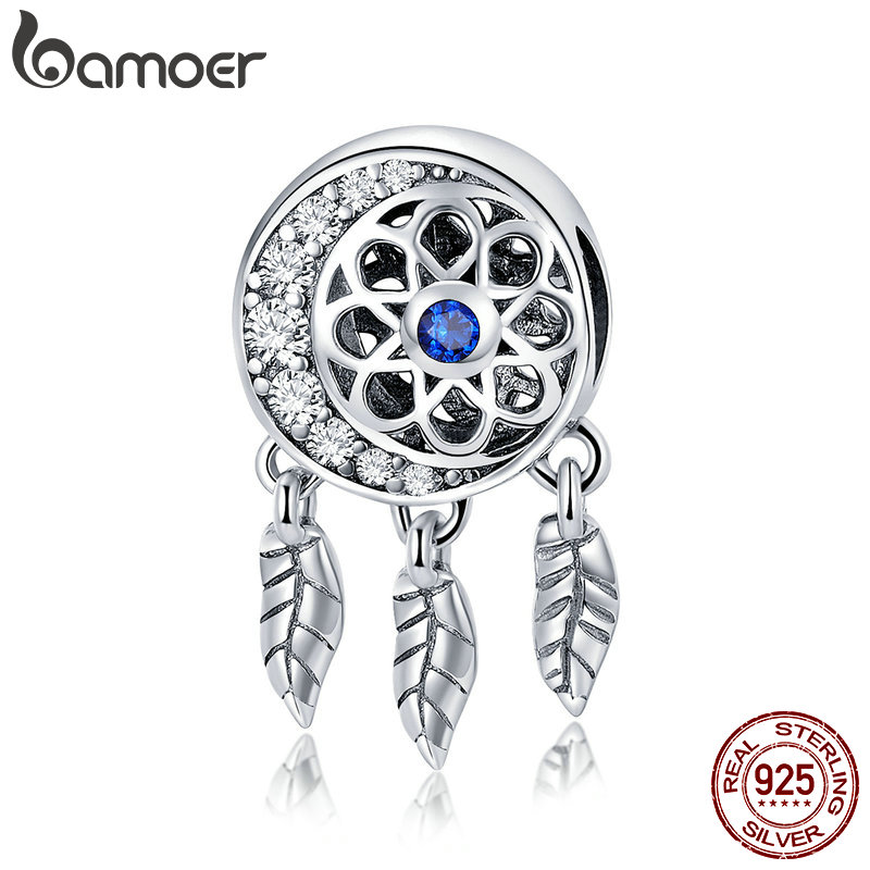 BAMOER 100% 925 Sterling Silver Moon Shape Dream Catcher Trendy Charm Beads fit Charm Bracelets & Necklaces DIY Jewelry SCC718 charm moon 2015 100
