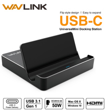 Wavlink Mini USB3.1 Universal usb docking station Type-C USB-C HDMI 4K Display 50W Power Delivery for Mac Windows tablets laptop