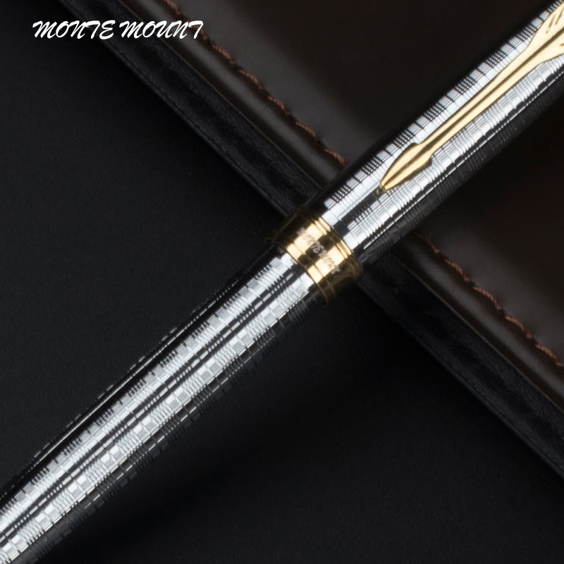 MONTE MOUNT High Quality Office School Stationery silvery carving  Luxury Ballpoint Pen
