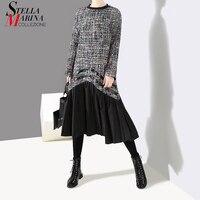 New 2018 Korean Style Women Winter Black Knitted Dress Long Sleeve Pleated Hem Female Casual Wear Midi Dress Style vestidos 4098
