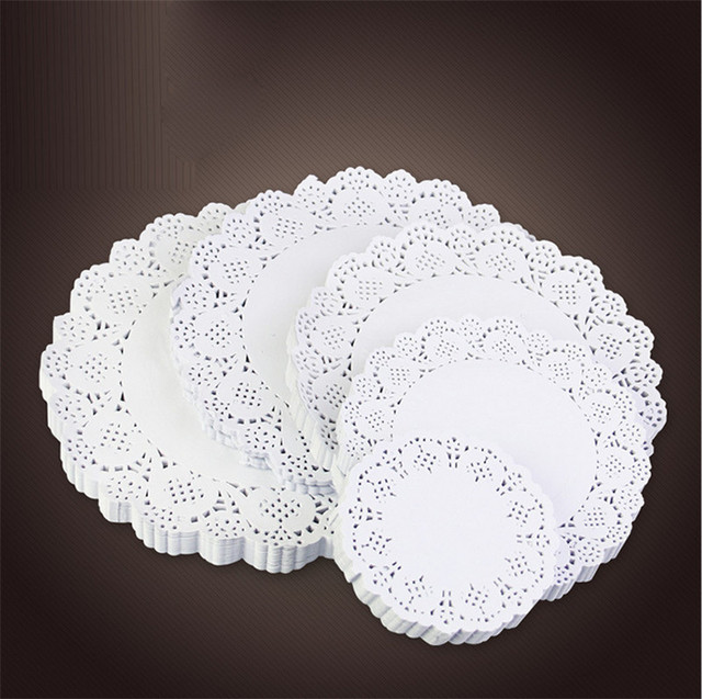 160pcs Lace Round Oval Paper Doilies Cake Placemat Craft Vintage