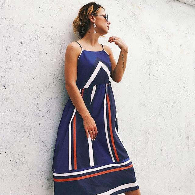 9b72fb44d6d Summer Dress Women Clothes 2018Slash Neck Color Block Striped Print Beach  Cami Dress Beach Sundress Women Dress vestidos