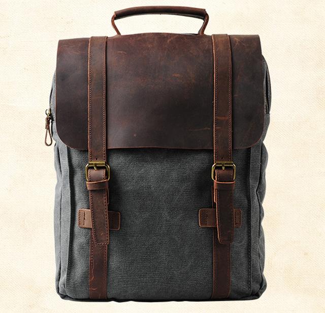 Fashion Male Backpack Leather military Canvas backpack Men backpack women school backpack school bag bagpack rucksack mochila