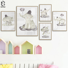 Watercolor Nursery Elephant Canvas Print Lovely Painting Nordic Balloon Animal Wall Picture Poster for Kids Room Decoration
