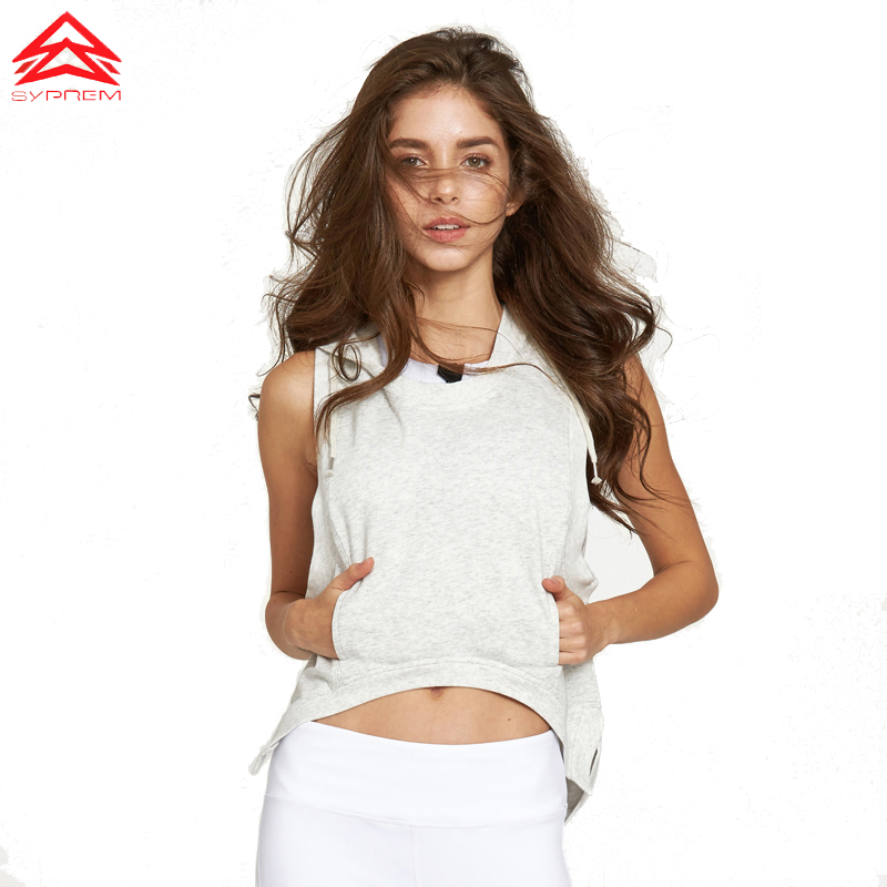 2017 Mujeres Deportes Tops Gypset Goddess SYPREM Chaleco Alto-Bajo Loose Grey Heather Chaleco de funcionamiento Mostrar Slim Hollow top deportivo, 1FT8072