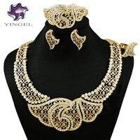 Nigerian Wedding Jewelry Necklace African Jewelry Sets Fashion Dubai Gold Jewelry Sets For Women Indian Jewelry