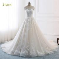 Loverxu Vestido De Noiva Сексуальная спинки линии Свадебные платья 2018 аппликации из бисера Часовня Поезд Винтаж свадебное платье плюс размеры