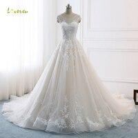 Loverxu Vestido De Noiva Sexy Backless A Line Wedding Dresses 2018 Appliques Beaded Chapel Train Vintage Bridal Gown Plus Size