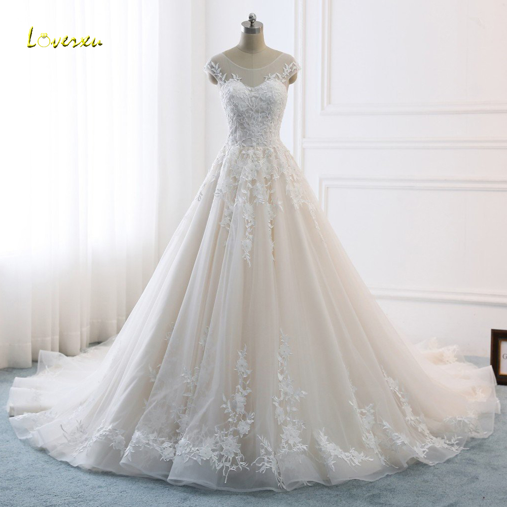 Loverxu Vestido De Noiva Sexy Backless A Line Wedding Dresses 2018 Appliques Beaded Chapel Train Vintage Bridal Gown Plus Size