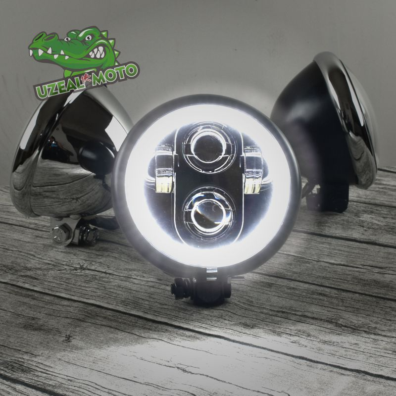 5.75 inchHigh Quality Motorcycle Headlamp Universal boober chopper Vintage Motorbike Front light Far light custom LED headlight sintered copper motorcycle parts motorbike front