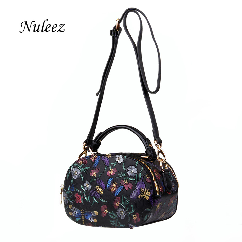 Nuleez genuine leather women bag Chinese national carved Floral  vintage and fashion luxury bag for dinner 2018Nuleez genuine leather women bag Chinese national carved Floral  vintage and fashion luxury bag for dinner 2018