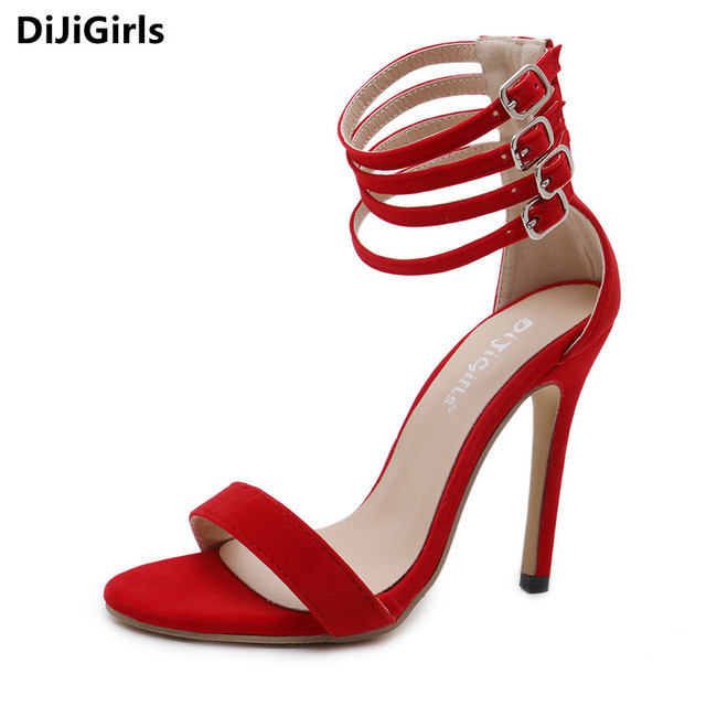 DiJiGirls sexy red thin high heels four buckle straps sandals lady wedding  bridal party shoes woman 99d74ea458c0
