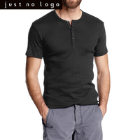 Mens Casual Classic Short Sleeve Henley Shirts Cotton Tops Collar Basic Tee Plain Solid Black White