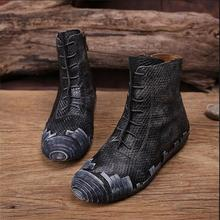 Handmade genuine leather boots nostalgic vintage flat heels boots personalized shoes lacing round toe women boots casual boots