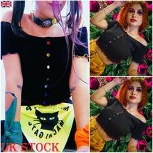 New Fashion Womens Black Short Sleeve Solid Rainbow Button Ladies Summer Causal