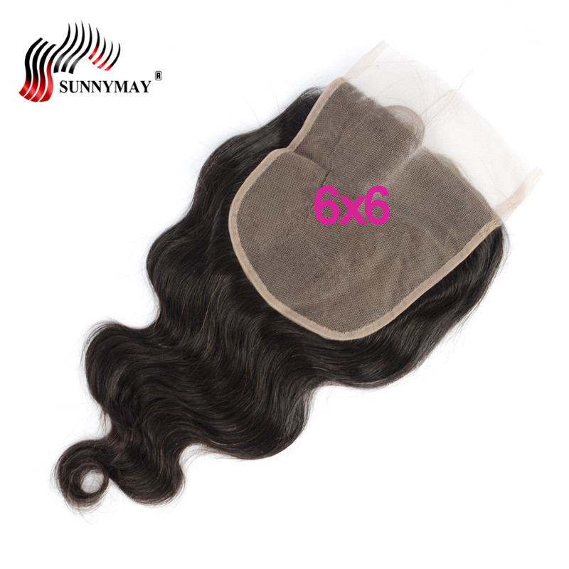 Sunnymay 6x6 Body Wave Lace Closure Peruvian Virgin Hair Middle Part Big Szie 6x6 Top Lace Frontal Closure Bleachked Knots