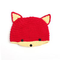 Brand Newborn Baby Wool Cute 100 Handmade Infant Baby Fox Hat Hand Knit Baby Hat Wool