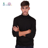 Men's Turtleneck Comfy Top Pure Heavy Weight 100% Silk Knit Long Sleeve T shirt Solid Size M L XL XXL