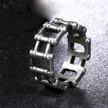 Hop Men Ring Motorcycle Biker Bicycle Chain Stainless Steel Wedding Brands Spinner Rock Male Jewelry