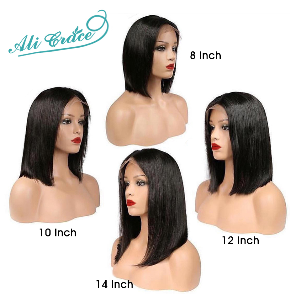 HTB14dd0X2vsK1Rjy0Fiq6zwtXXaz Short Human Hair Wigs For Black Women Ali Grace Peruvian Remy Hair Lace Front Wigs With Pre Plucked Hairline Blunt Cut Bob Wigs