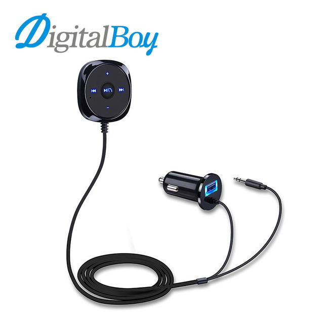 Digitalboy Bluetooth Car Kit 3.5mm AUX Audio Music Car MP3 Player Hand-Free Call Receiver with USB Charger for iphone Samsung