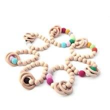 Новинка, 1 шт., прорезыватель для зубов, натуральный круглый деревянный браслет для новорожденных мам и детей, деревянная игрушка для прорезывания зубов