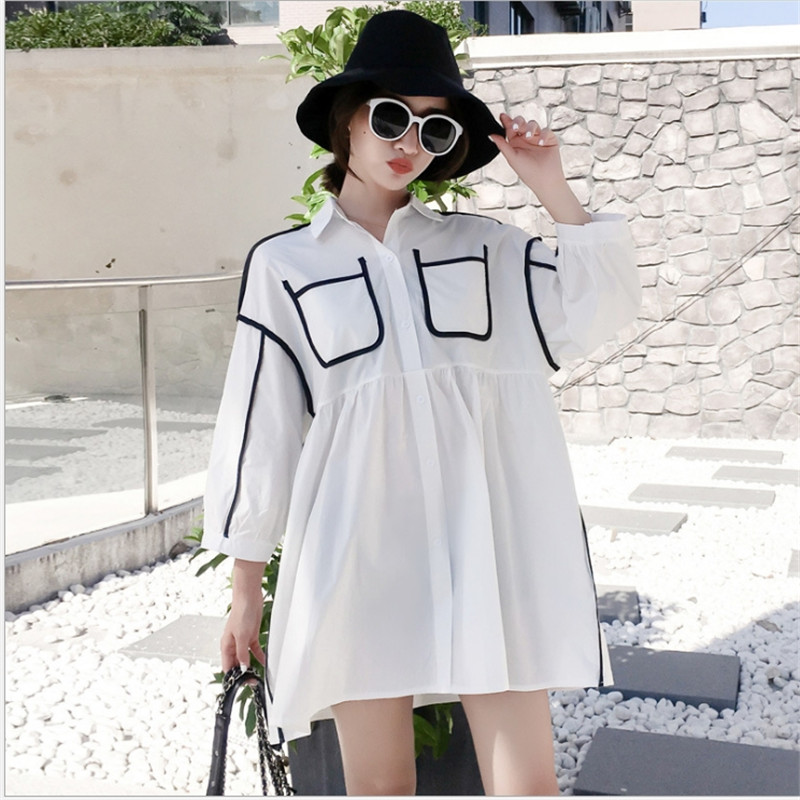 Plus-size women's dress 2018 fall style hot mom loose shirt nine sleeves long pregnant women's shirt plus size button up belted pocket shirt dress